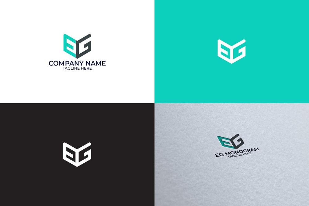 EG Monogram Logo Logo Templates Creative Market