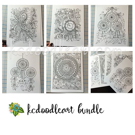 5 coloring pages for adults - dreamcatcher, triple goddess inspired ...