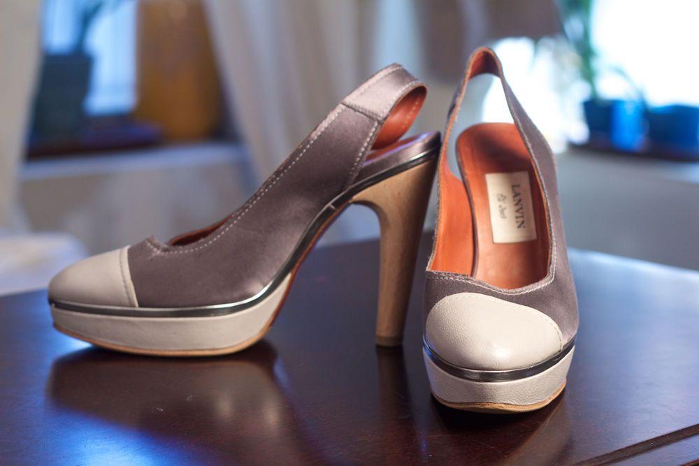 NEW Lanvin Gray Satin & Leather Cap Toe Sling-backs, Wood Heel, Size 39 (US 8.5) #Lanvin #PlatformsWedges