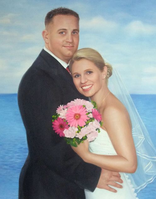wedding day photos to paintings, hand painted wedding portraits, wedding oil painting, wedding art  paintings, wedding paintings artists, wedding portrait painting