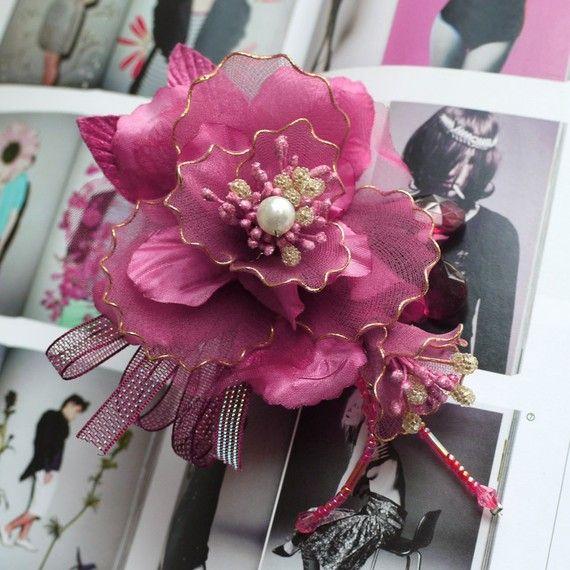 110mm organza netting fabric silk flower corsage by Blinkeye,