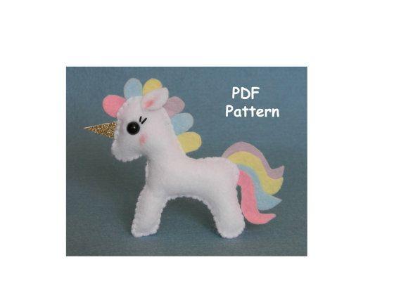 Pdf Felt Unicorn Ornament Pattern Unicorn Pdf Sewing