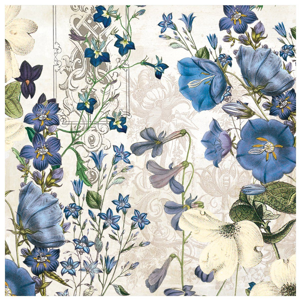 Amazon.com: Michel Design Works 20 Count 3-Ply Paper Lunch Napkins, Blue Meadow: Kitchen & Dining