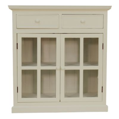 Best Décor Therapy Layla Glass Door Accent Cabinet In White 400 x 300