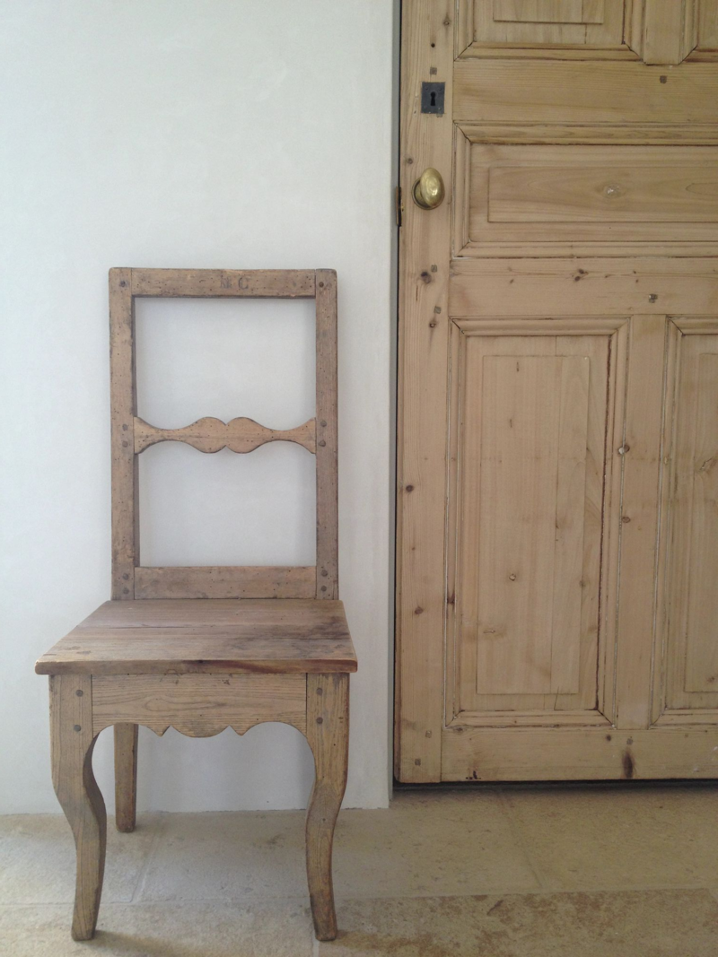 small French Pine chair and antique Pine door in our mud room. #patinafarm - Patina Farm Update: A Few Vignettes While We Move In... Pine