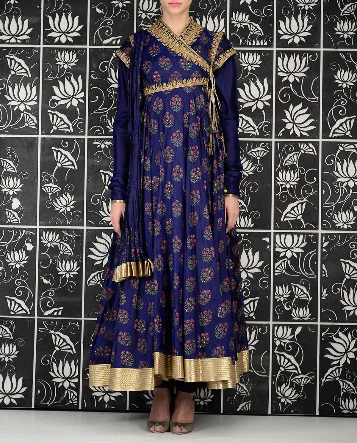 Printed indigo blue suit with embroidered yoke rishika boutique