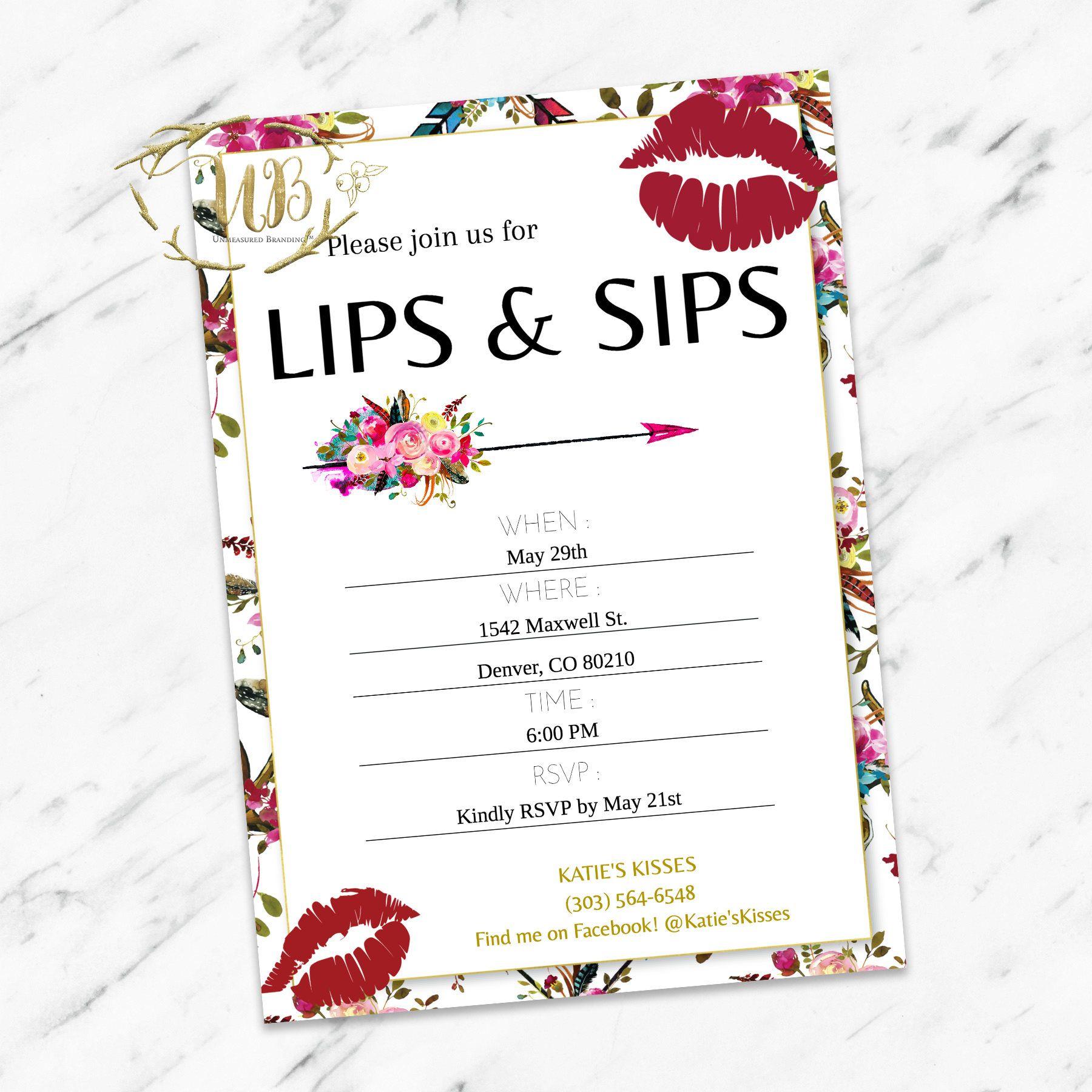 LipSense Lip and Sip Party Invitation | LIPSENSE & MAKEUP ...