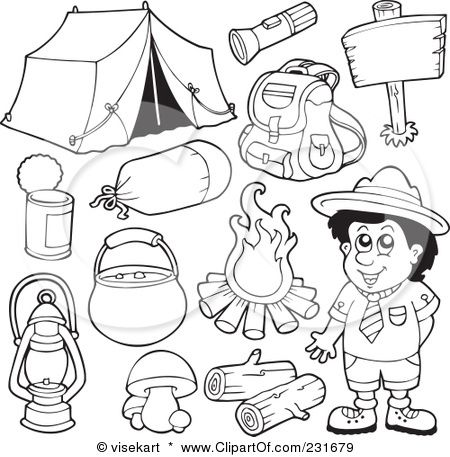 Royalty Free RF Clipart Illustration Of A Digital Collage Outlined Camping Gear