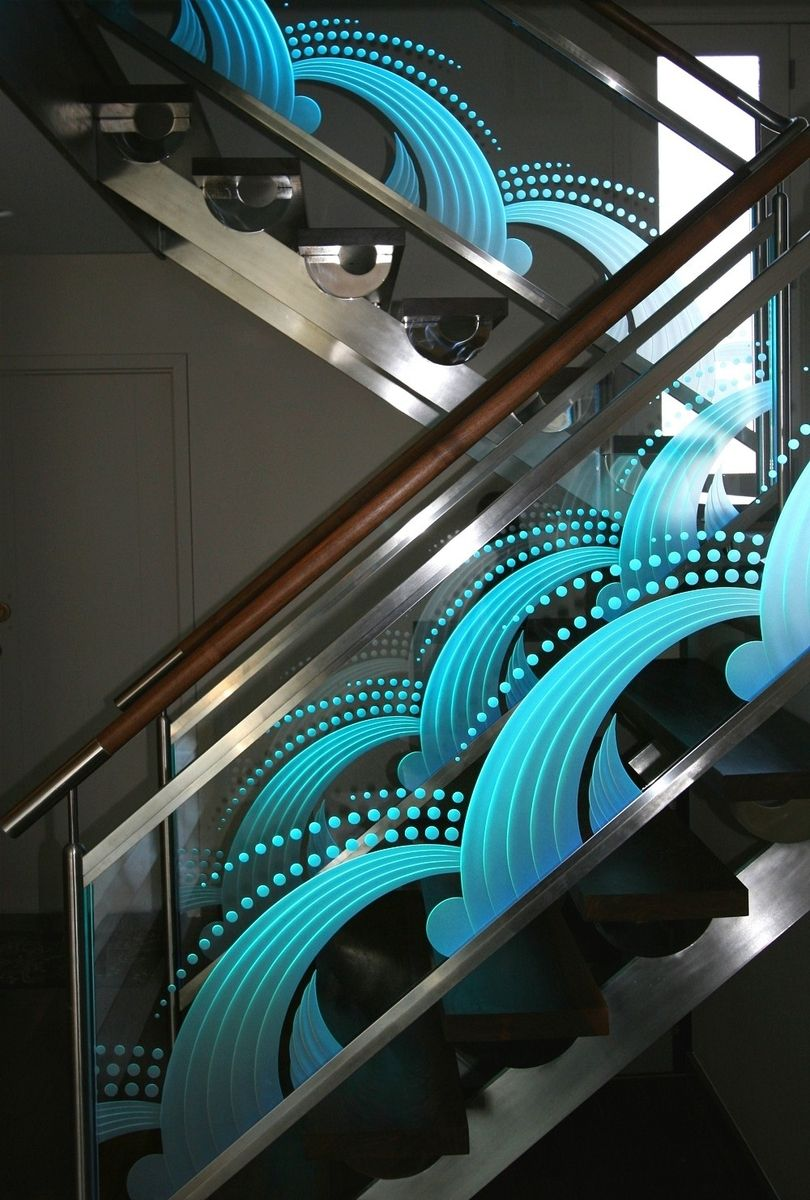 Best Illuminated Carved Etched Glass Staircase Custommade 400 x 300