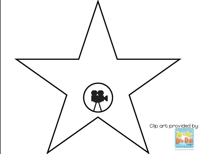 Hollywood Star Template Walk Of Fame Free Clipart