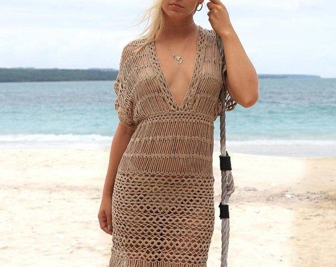 Gehaakte jurk Beachwear bedekken #crochetbeachdress