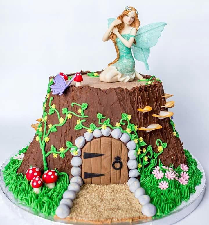 Fairy Garden Tree Stump House Cake Fairy Garden Birthday Cake