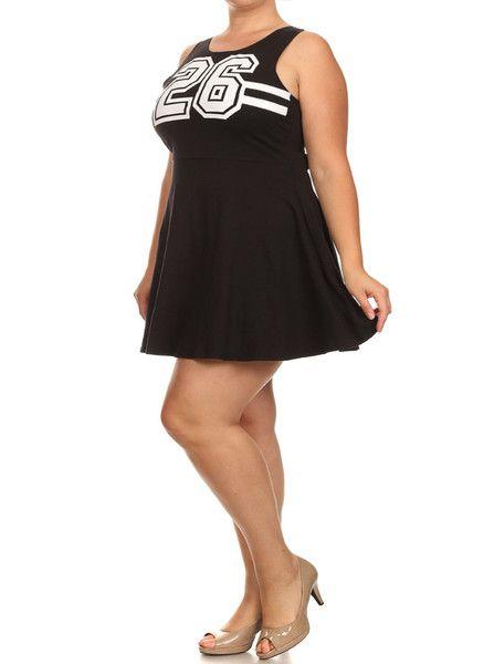 Plus Size Sports Jersey Black Tank Dress Sizes 1x 2x 3x Super Bowl