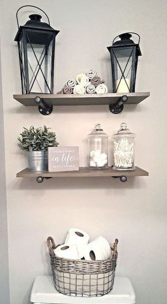 40+ Farmhouse Shelving and Wall Decor Ideas - Farmhouse bathroom decor, Farm style bathrooms, Easy home decor, Rustic farmhouse decor, Apartment decor, Bathroom styling - Get inspired with 40+ farmhouse shelving and wall decor ideas  Give some life to your walls with hand crafted ceramics, vintage signs, and beautiful greenery