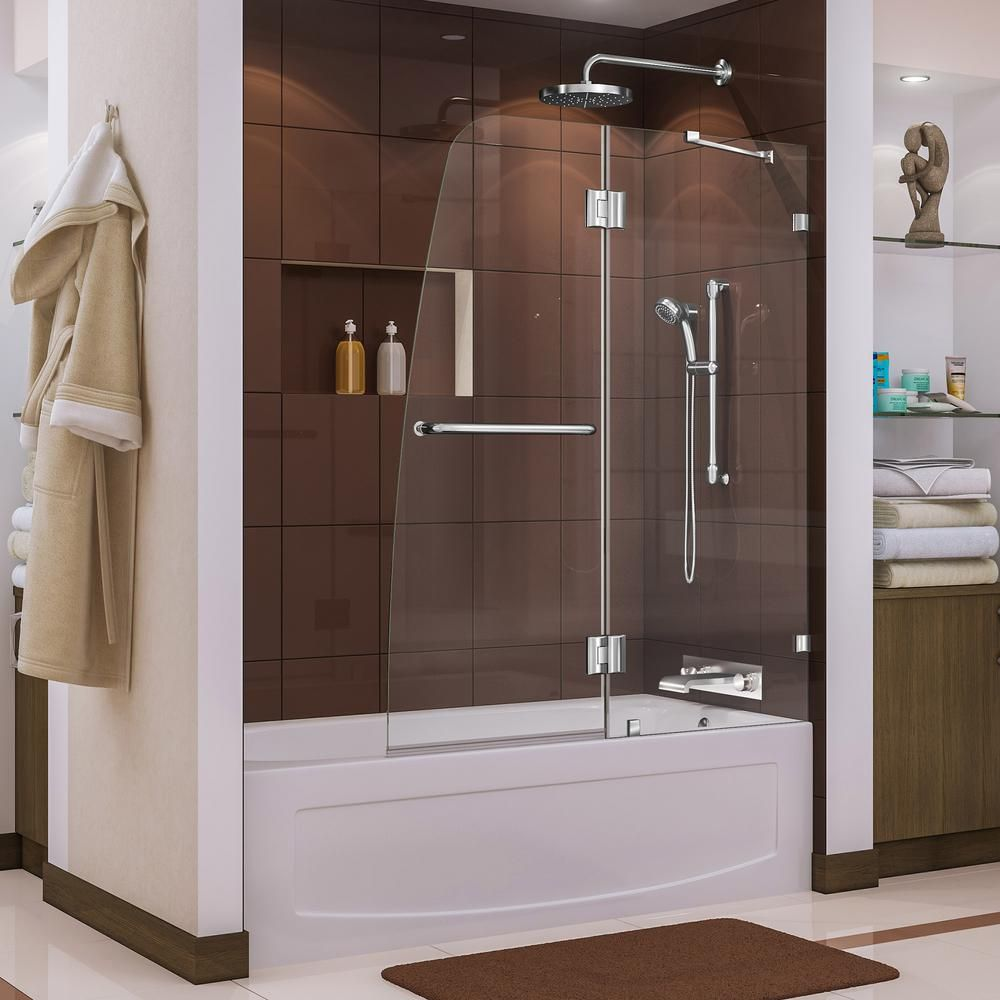 Dreamline Aqua Lux 48 In X 58 In Frameless Hinged Tub Door In