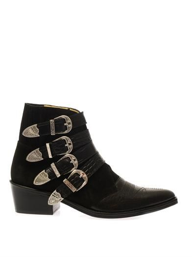 Suede and leather buckle boots | Toga Pulla | MATCHESFASHION.COM
