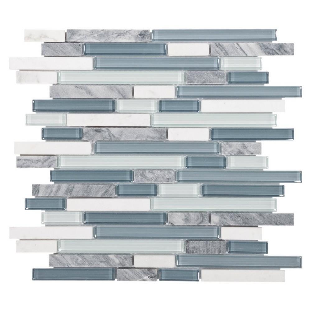 Bliss Waterfall Linear Blend Glass and Stone Mosaic | Stone mosaic ...