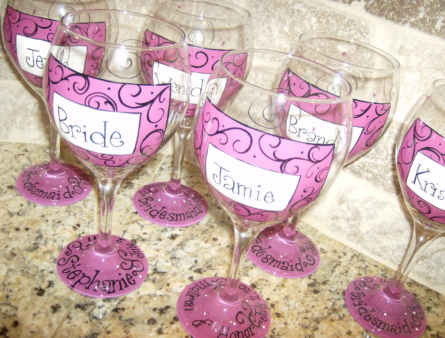 Hand Painted Wedding Party Personalized Wine Glasses - Etsy ...