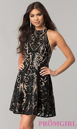 9e507b6dfec Short Sequin Homecoming Dress with Open Back