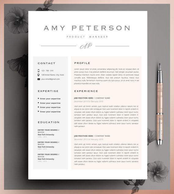Professional Resume Template \ Cover Letter, Cv, Professional - good words to use on resume