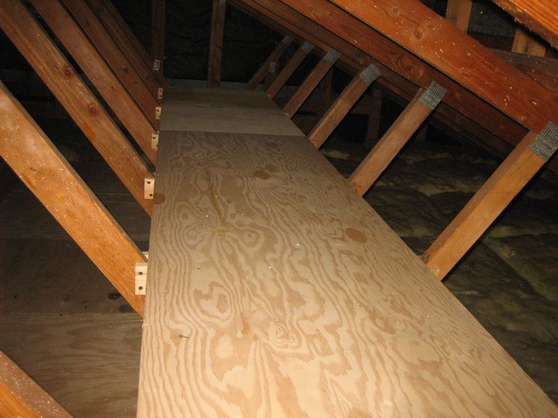 Attic Storage Idea I Have A Difficult Attic Blown Insulation And No Floor Space Attic Flooring Garage Attic Garage Attic Storage