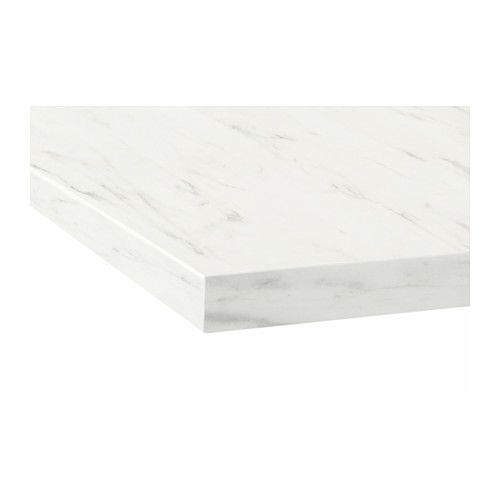 Best Ekbacken Countertop White Marble Effect Laminate 74X1 1 640 x 480