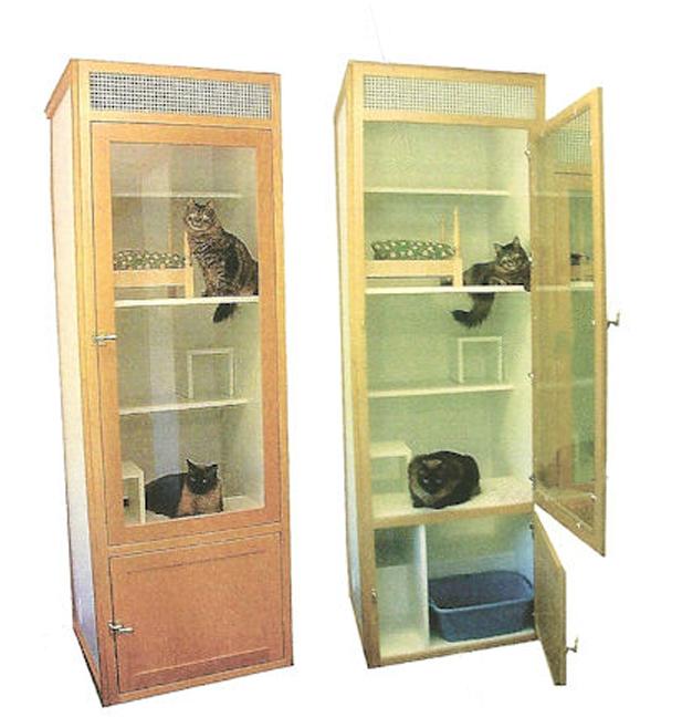 Litter And Storage Below Wooden Cat Cat Hotel Cat Kennel