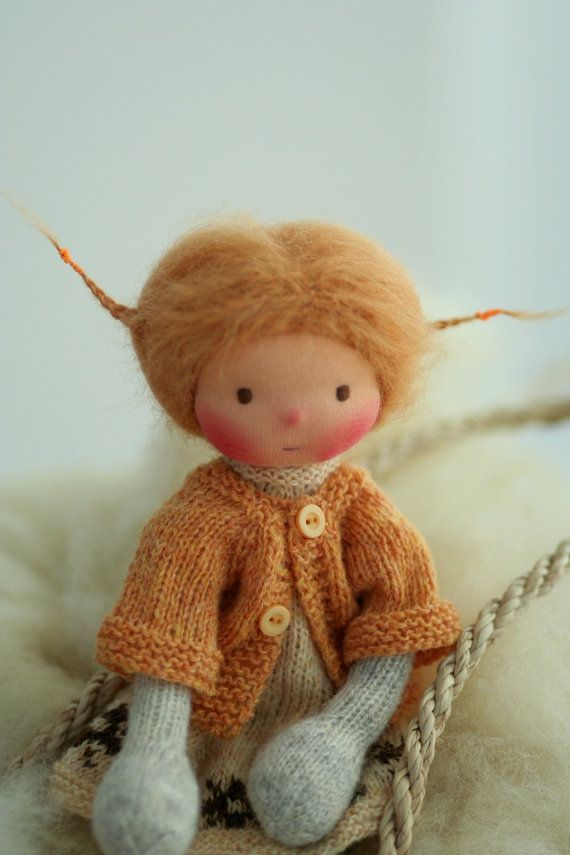 Waldorf doll, Soft doll, Knitted doll Carmel 14\