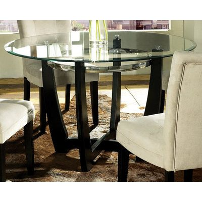 Steve Silver Matinee Glass Top 48 Inch Round Dining Table For The