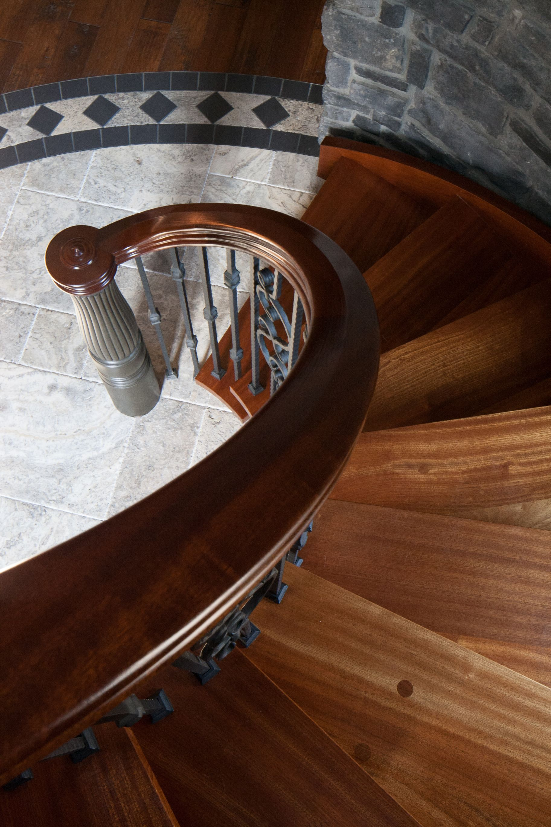 Best Circular Stair With Sapele Handrail On Wrought Iron 640 x 480