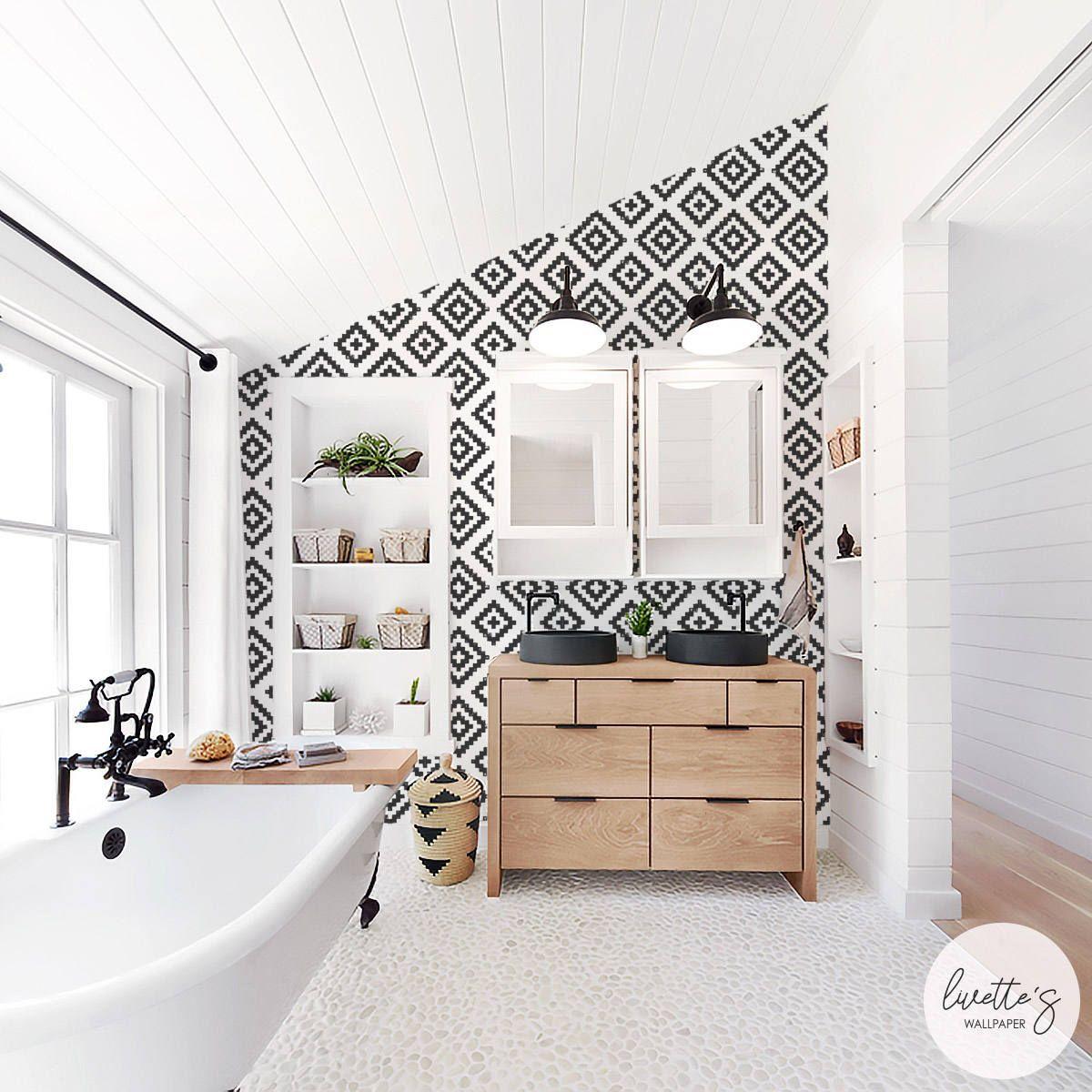 Scandinavian Pattern Removable Wallpaper Geometric Self Adhesive Or Traditional Wallpaper By Bathroom Interior Design Bathrooms Remodel Home Interior Design
