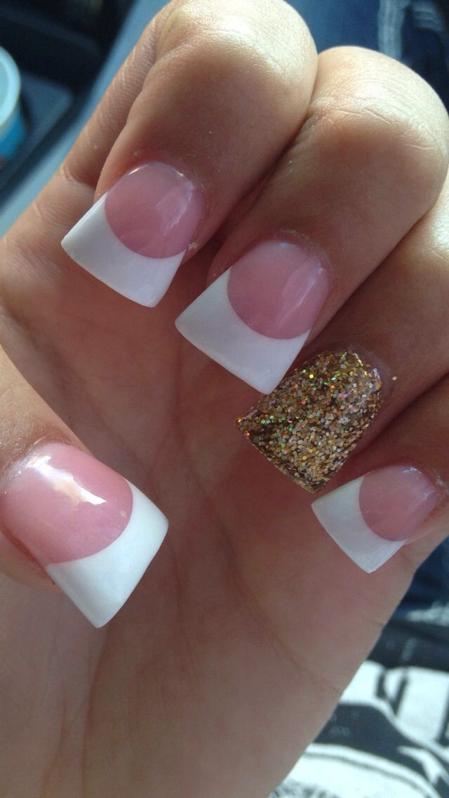 cute french tip with accent nail. gold nails | Nails | Pinterest ...