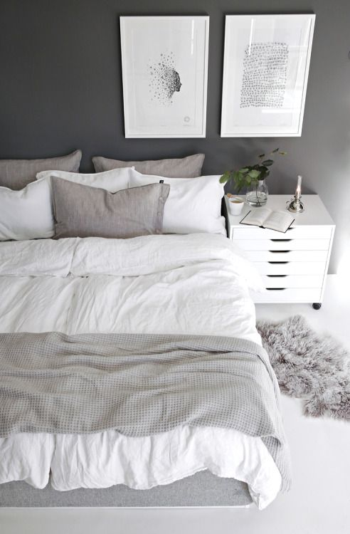Grey & white Scandinavian bedroom | Home decor bedroom, Home ...