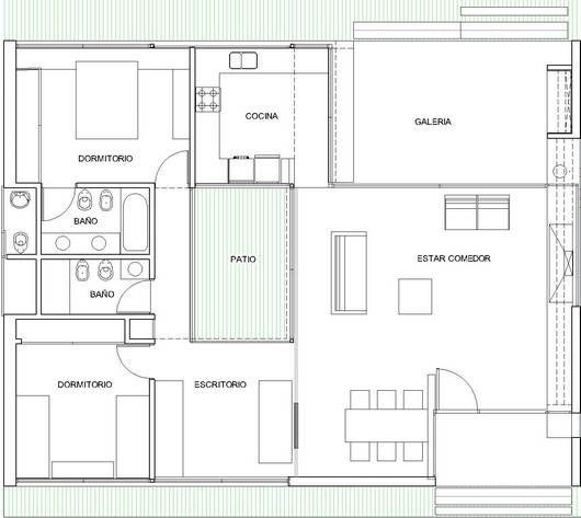Plano de preciosa casa moderna de 1 planta y 2 dormitorios - Casas planta baja modernas ...