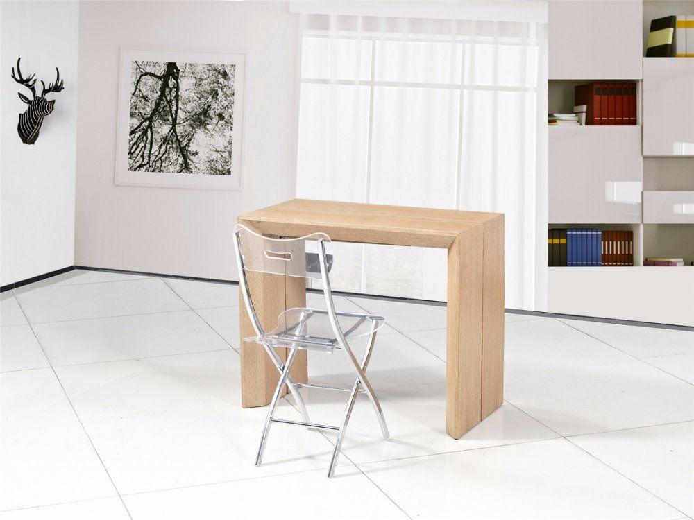 Console extensible en table repas EXTENSO DELUXE bois chêne clair 12 ...