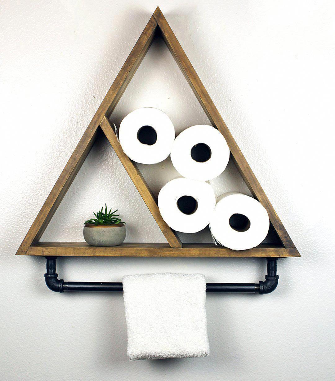 Bathroom Triangle Shelf with Industrial Towel Bar