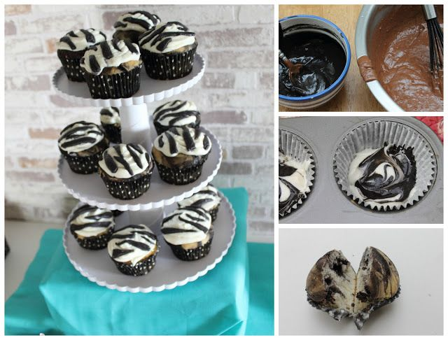 DIY Zebra cupcakes both inside and out.  Dye chocolate cake black and swirls with vanilla.  Dye marshmallow fondant black to make stripes.