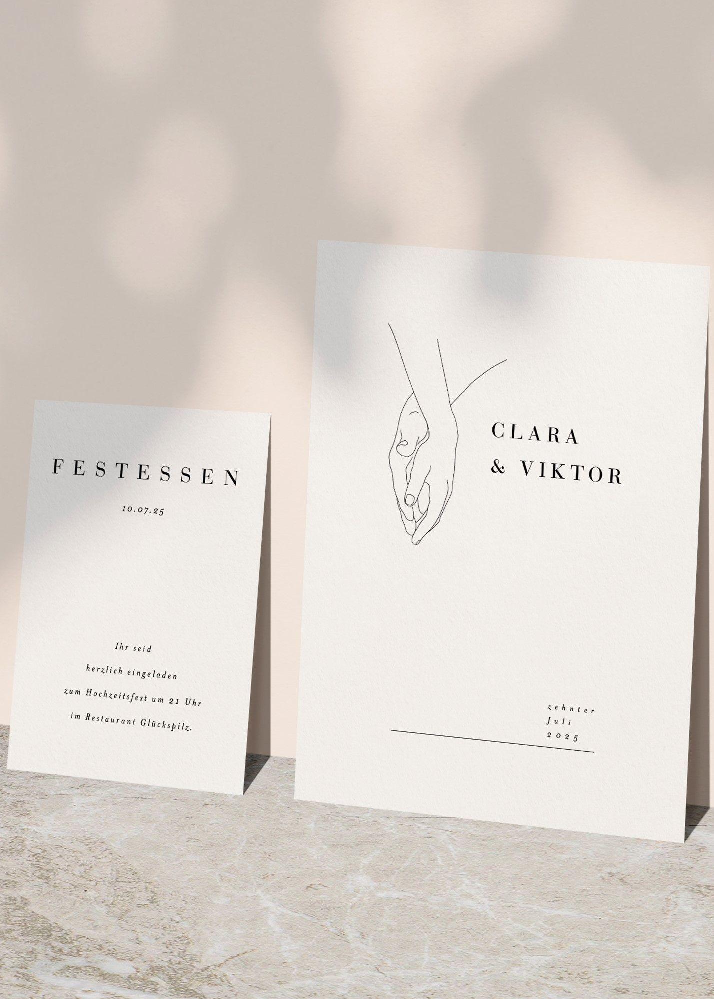 Hochzeitskarte aus unserer kollektion minimalistisch die ganze serie auf hochwertigem kreativkarton und individuell personalisierbar