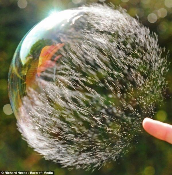 Slow motion bubble pop