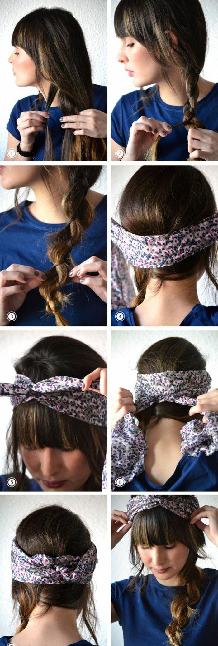 Bandana Binden Blaue Bluse Buntes Haarband Braune Haare Zopf Alltagsfrisur In 2020 Haarband Frisur Frisuren Mit Bandana Frisuren Mit Zopf