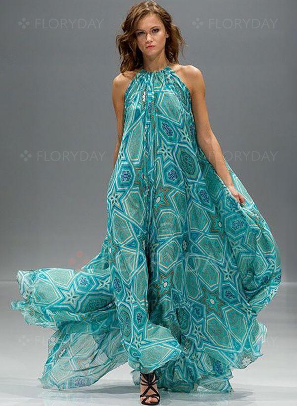 Robes Géométrique Sans manches Maxi Floryday | Robe