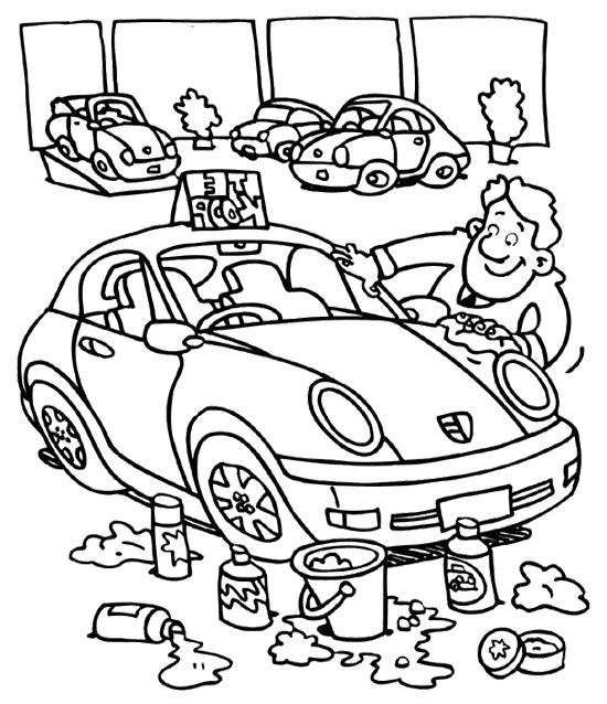 Car Wash Cartoon Coloring For Kids Cartoon Coloring Pages