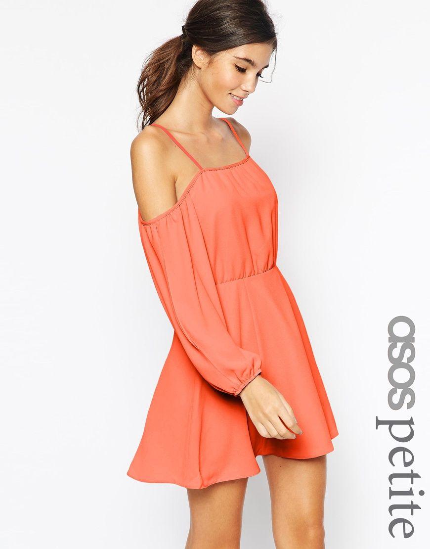 Asos Petite Dress With Cold Shoulder And Split Sleeve At Asos Com Asos Petite Dresses Petite Dresses Dresses
