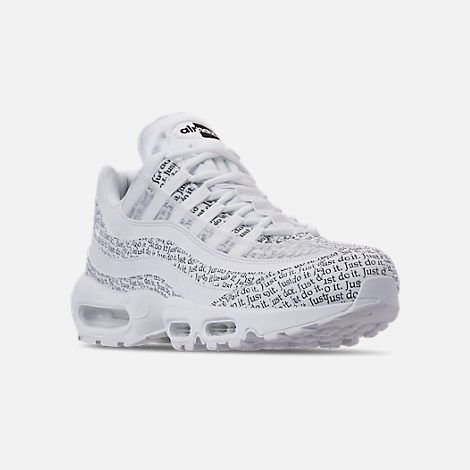 best service 332ed 850a0 Three Quarter view of Men s Nike Air Max 95 SE JDI Casual Shoes in  White White Black