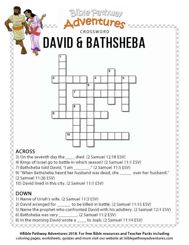 image about Printable Bible Crossword Puzzles With Scripture References referred to as Bible Crossword Puzzle: David and Bathsheba Bible Cl