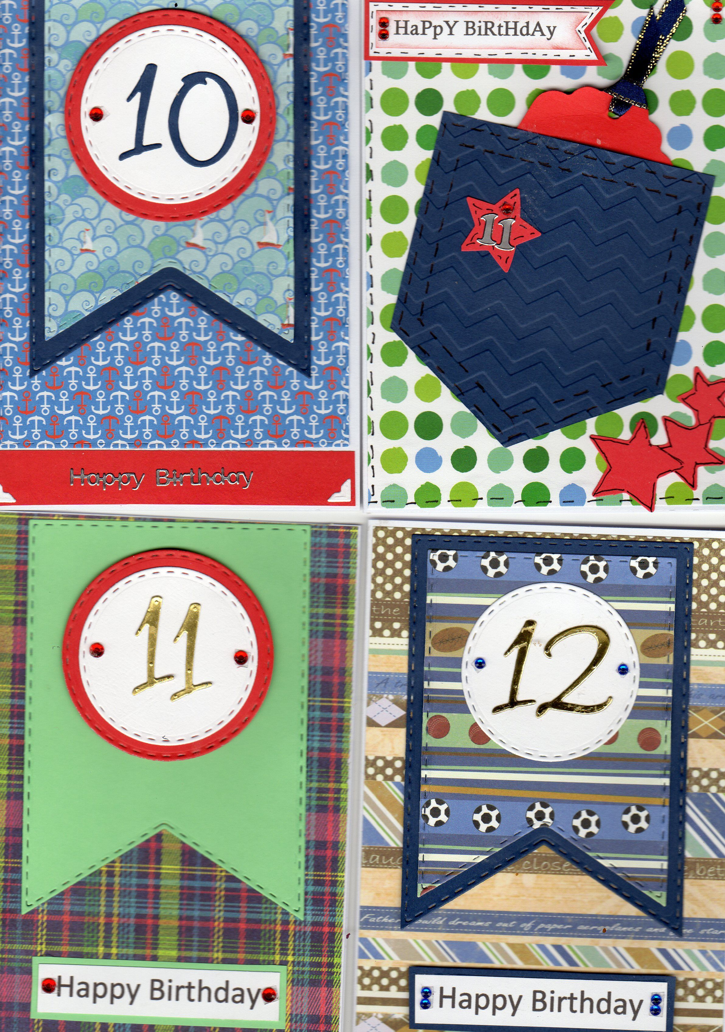 10 11 And 12 Year Old Boys Birthday Cards Using The Justrite Banners Rectangles Die Set Pocket Card Was Inspired By Waste From Banner