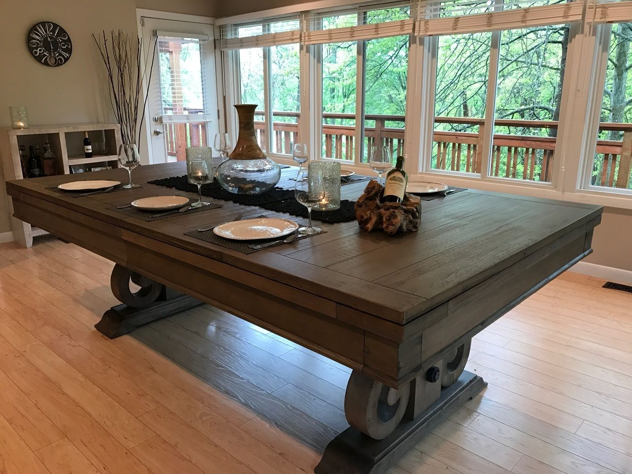 Dining Top Pool Table Rustic Farmhouse With Images Billiards