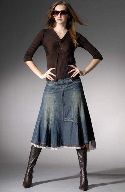 Beautiful Denim Skirts Styles : beautiful denim skirts boots ...