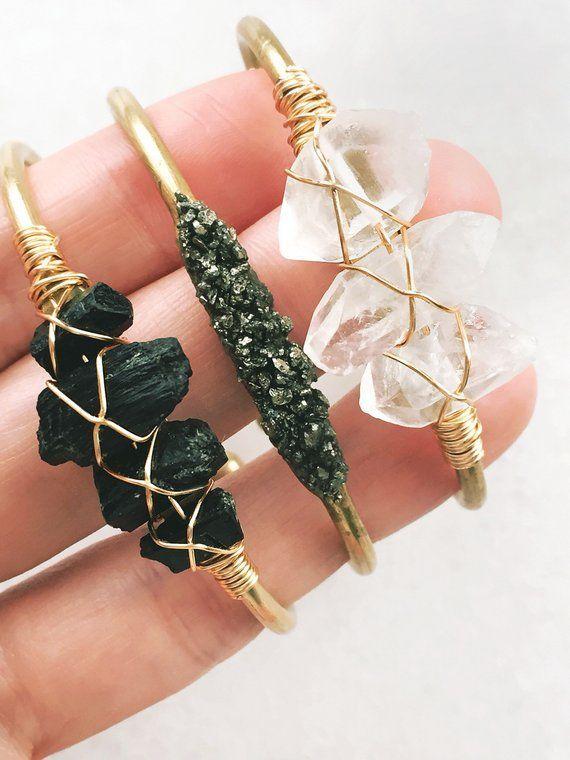 Photo of Raw Black Tourmaline Cuff Bracelet | gold bangle, – ladies jewelry and accessories