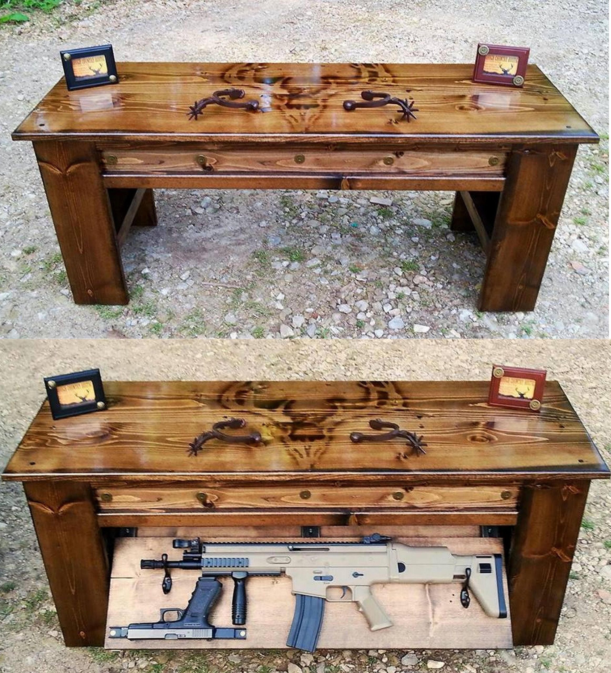 these farmstead cedar hidden end storage one oaks of gun stash red pieces two furniture concealing gat your in table